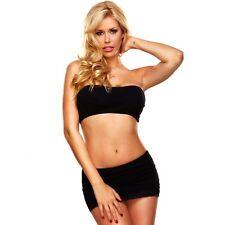 Hustler Lingerie Seamless Sheer Tube Top Mini Skirt Set - BLACK OS
