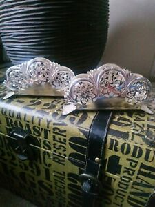 VINTAGE J REICHHART WEST GERMANY SILVER PLATED NAPKIN HOLDERS, PIERCED PATTERN