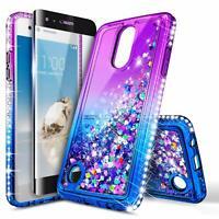 For LG Rebel 4 LTE / Phoenix 4 Case Liquid Glitter Bling Cover + Tempered Glass