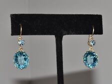 Vtg 10k Gold Blue Crystal Glass Dangle Drop Earrings Gorgeous