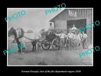OLD LARGE HISTORIC PHOTO OF NEWNAN GEORGIA, THE FIRE DEPARTMENT TRUCK c1910
