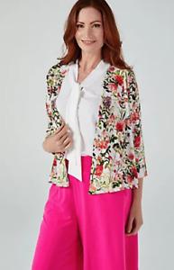 Kim & Co Printed Brazil Jersey 3/4 Sleeve Bolero, Size L, White Multi, BNWT