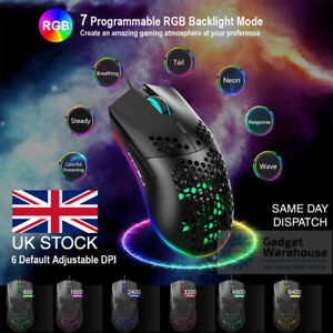 RGB USB Wired & Wireless Gaming Mouse 6400 DPI Honeycomb Ergonomic Backlit Gamer