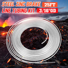 "Silver Zinc Brake Transmission Line Steel Tubing Tube Coil 3/16"" OD 25 FT Roll"
