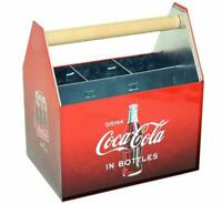 Coca Cola Galvanized Tin Utensil Caddy with Handle Original Multiple Dividers