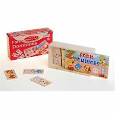 Wood Farm Domino Col Box - Dominoes Wooden Traditional Games Travel Children