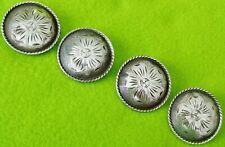 "Lot (4)Vintage Sterling Silver Big 1-3/4"" Conchos~Spur Straps~Bridle~B Collar~Nr"
