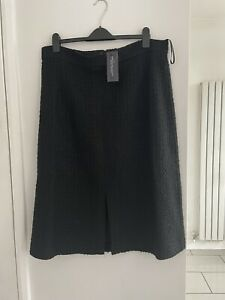 BNWT M&S Collection Black Boucle Wool Mix Pencil Skirt With Front Slit Size 20L
