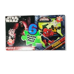 Star Wars Avengers Spider Man - Pack of Puzzles 6 total - ages 6+