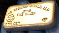 Vintage 10 Troy Oz. Ohio Precious Metals .999 Fine Silver -Hand Poured- 🍄 Bar