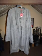 BNWT Quirky Luxury Designer Soggo Paris Grey Long Cardigan Jacket Top Coat M/L