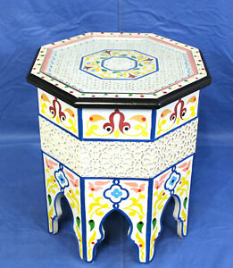 Moroccan Table Carved Painted White Octagon Handmade Decor Side Accent Piece