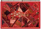 """60"""" RED HUGE INDIAN HEAVILY BEAD DÉCOR VINTAGE SARI ZARI WALL HANGING TAPESTRY"""