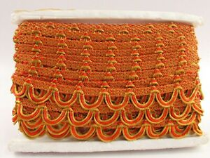 """Conso Trimmings Decorative Textile Trim Orange and Gold 1.25"""" x 10 Yds H033"""