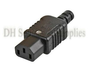 IEC C13 INLINE REWIREABLE HEAVY DUTY FEMALE SOCKET PLUG 10A 250V BLACK