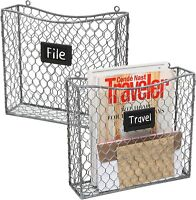 Metal Wire Wall Mounted Magazine, File & Mail Holder Basket w/Chalkboard Label,