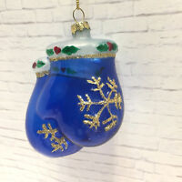 Vtg Glass Mittens Christmas Ornament Hand Painted Holly Gold Snowflakes Blue
