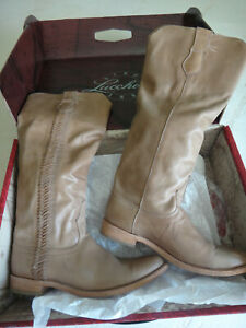 Lucchese Womens M4046 Chelsea Braided Maple Cowboy Riding Boots - Size 10B
