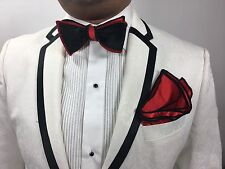 Bow Tie Reversible Self Tie Red And Black With Red & Black Stitched Borders