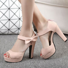 Women Platform Bow Ankle Strap Open Toe Chunky Heeled  Sandals Shoes US 6 Pink