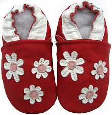 carozoo 3 flowers red 12-18m C1 new soft sole leather baby shoes