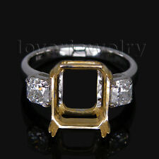 Jewelry Sets 18Kt Two Tone Gold Natural Diamond Emerald Cut 8x10mm Setting Ring
