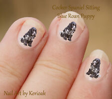 Cocker Spaniel Puppy Sitting,   24 Unique Designer Dog Nail Art Stickers Decals