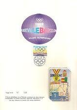 ENCART PHILATELIQUE ET TELECARTE JEUX OLYMPIQUES 1992 BARCELONE - ALBERTVILLE