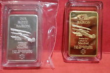 GERMAN DER ROTE BARON (RED BARON) GOLD/BRASS ART BAR - 24K gold plated