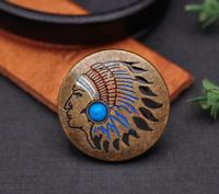 Antique Brass Southeast Ethnic Indian Head Turquoise Leathercraft Belt Conchos