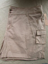 NEW Ruff Hewn Women's Size 22W Tan Brown Linen Cotton Khaki Cargo Shorts NWT $69