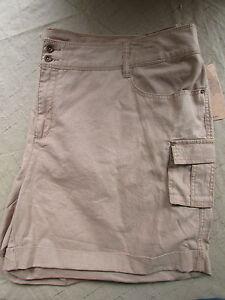 NEW Ruff Hewn Women's Size 24W Tan Brown Linen Cotton Khaki Cargo Shorts NWT $69