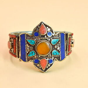 Nepal Jewelry Coral Turquoise 925 Tibetan Silver Plated Bangle Bracelet RC2706
