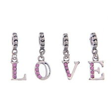32 PCs Mixed Silver Tone Rhinestone Letter Dangle Beads Fit Charm Bracelet