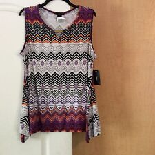 New Robert Louis - Multi Color Printed Asymmetric  Women Top Size LARGE