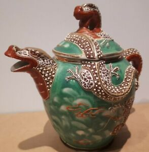 Lovely Vintage Green Japanese DRAGON Teapot