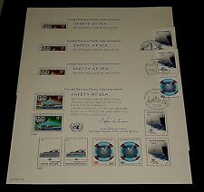 U.N.#SC23, 1983 SAFETY AT SEA,COMPLETE SET OF 4 SOUVENIR CARDS, NICE!! LQQK