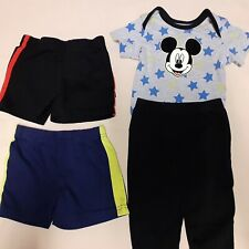 4 ct Lot Disney baby boy grey/blue mickey bodysuit pants & black shorts sz 6-9 m