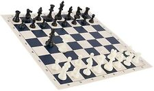 "Black & White Chess Pieces & 20"" Blue Vinyl Board - Single Weighted Chess Set"