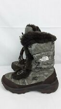 The North Face Camo Faux Fur Lined BOOTS Girls Size 1 Free Ship to US