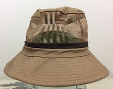 Fishing Bucket Hat - Vtg Khaki Mesh Brimmed Cap, Paris Accessories, Sz 6.75-7
