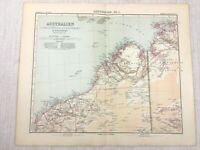 1907 Antik Map Of North Western Australia Kimberley Pardu Dampier Melville