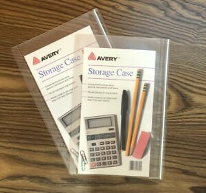 2x Avery K&M Click Seal Storage Case Clear Vinyl 3 Hole Pencil Pouch VZ-0 69433
