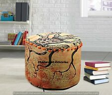Large Mandala Round Ottomans Cushion Cover Indian Decor Footstools Poufs Cover