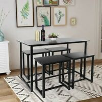 5 Piece Dining Set Wood Bar Table and 4 Steel Chair for Kitchen Dining Room