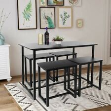5Pcs Dining Table Set Home Kitchen Furniture Wood Bench Stools Table Black Us