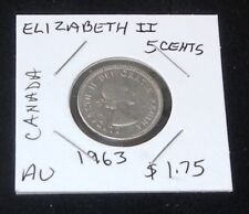 1963 Canada Elizabeth II 5 Cent Nickel & 10 Cent Silver 2 Coin Set