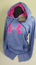 NWT WOMEN UNDER ARMOUR BLUE STORM LOGO WATER RESIST HOODIE SWEATSHIRT SZ MD M