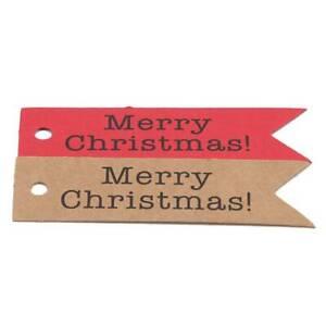 50pcs Merry Christmas Tags Kraft Paper Card Gift Label Tag DIY Hang Tag Labels