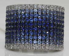 GORGEOUS 18K WHITE GOLD WIDE BAND WITH 2.50 CTW SAPPHIRE AND DIAMONDS #E3